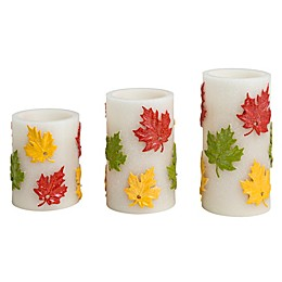 Loft Living Embossed Harvest 3-Piece LED Pillar Candle Set