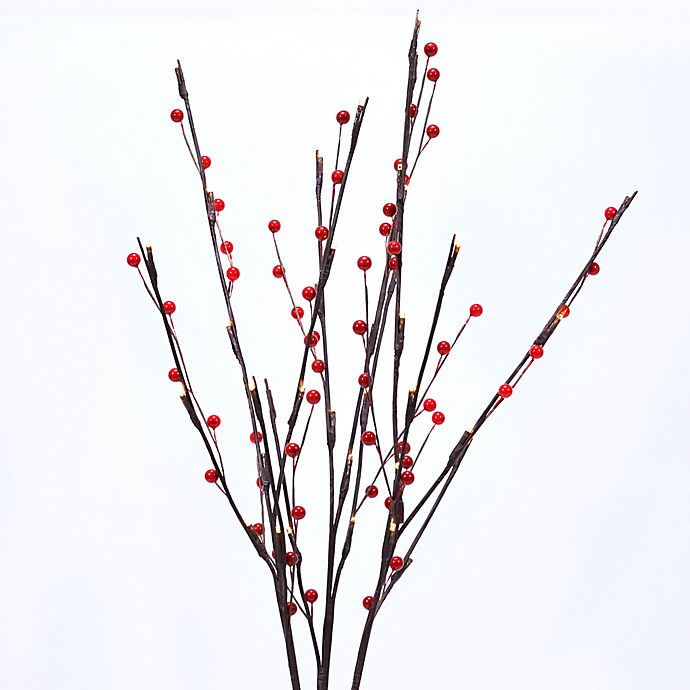 27 Inch Led Lighted Metal Branches With Berry Accents Set