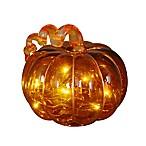 LED Lighted Glass Pumpkin Sculpture