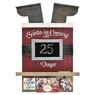 Santa Countdown 3-Photo Clip Collage Picture Frame