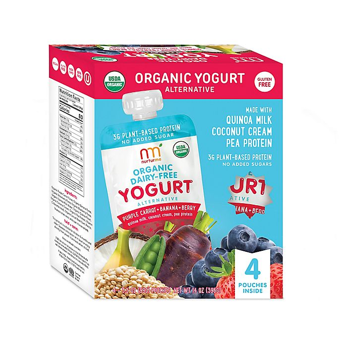 Alternate image 1 for NurturMe Organic 4-Pack Yogurt Alternative Purple Carrot Banana Berry Blend