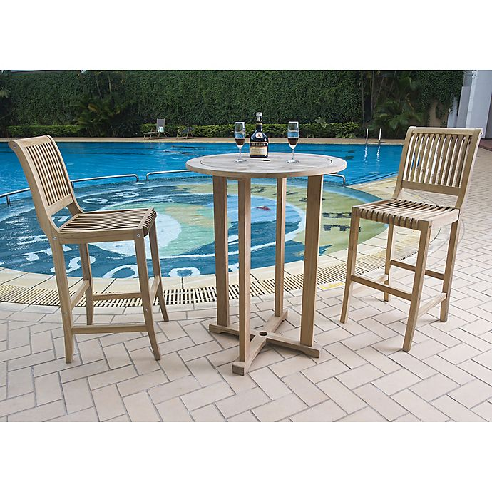 Alternate image 1 for Hiteak Furniture Palm 3-Piece Outdoor Bar Set