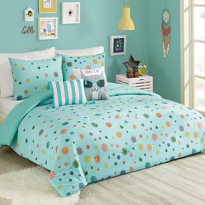 Alternate image 1 for Urban Playground Raining Pom 5-Piece Full/Queen Comforter Set in Blue
