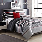 Ronan Striped Reversible 5-Piece King Comforter Set in Grey