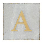 Thirstystone® Marble Monogram  A  Single Coaster in Gold/White