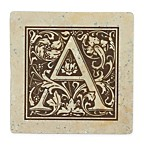 Thirstrystone® Travertine Monogram  A  Coaster (Set of 4)