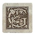 Thirstrystone® Travertine Monogram  G  Coaster (Set of 4)