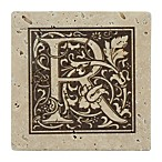 Thirstrystone® Travertine Monogram  R  Coaster (Set of 4)
