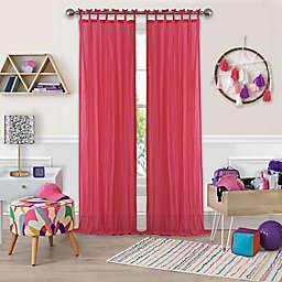 Greta Crushed Sheer 108-Inch Tie Top Window Curtain Panel in Pink