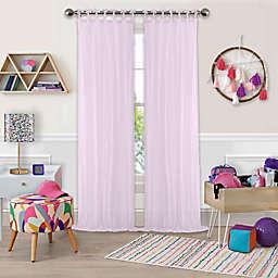 Greta Crushed Sheer 108-Inch Tie Top Window Curtain Panel in Soft Pink