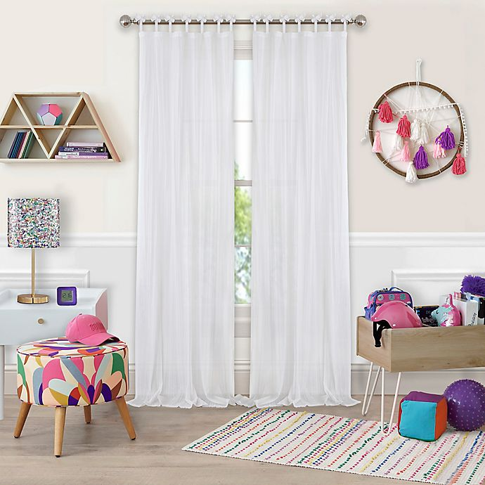 Alternate image 1 for Greta Crushed Sheer Tie Top Window Curtain Panel
