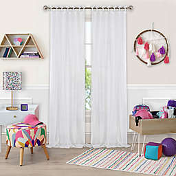 Greta Crushed Sheer 95-Inch Tie Top Window Curtain Panel in White