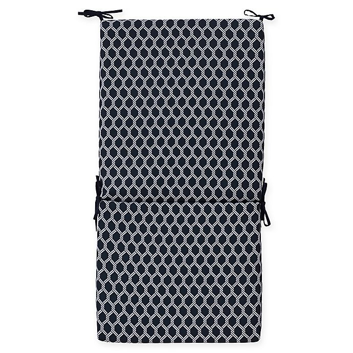 Alternate image 1 for Commonwealth Home Fashions Basketweave Outdoor High Back Chair Cushion in Navy