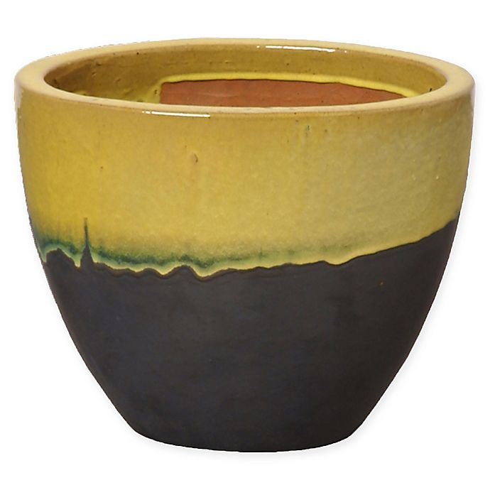 Emissary Large Oval Two Tone Planter In Yellow
