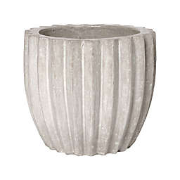 Emissary 16-Inch Round Ribbed Flower Pot in Grey