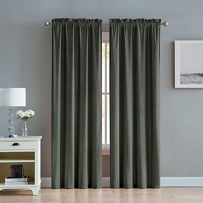 Alternate image 1 for Velvet 2-Pack Rod Pocket Window Curtain Panels