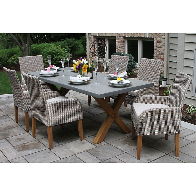 Alternate image 1 for Outdoor Interiors® Composite 7-Piece Outdoor Dining Set w/Ash Chairs