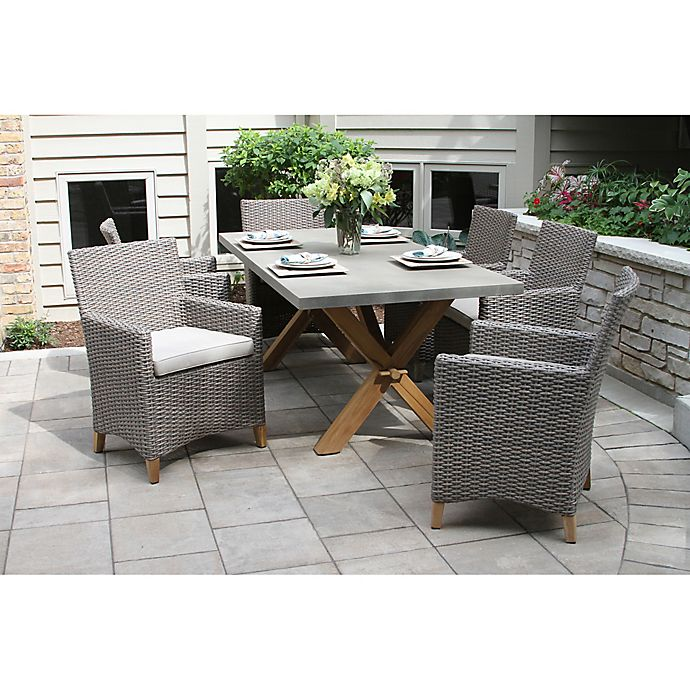 Outdoor Interiors Composite 7 Piece Outdoor Dining Set W Driftwood Chairs Bed Bath Beyond