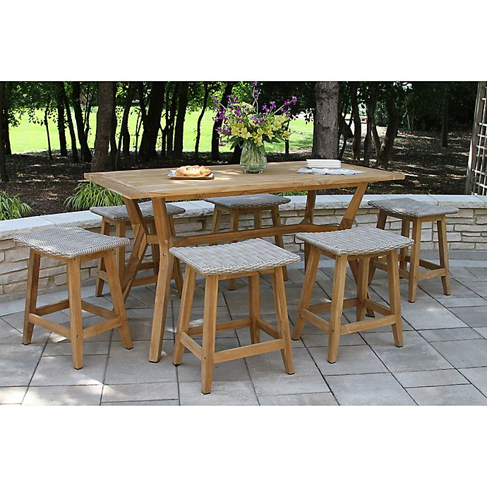 Alternate image 1 for Outdoor Interiors® 7-Piece Nautical Counter Height Dining Set in Teak/Grey