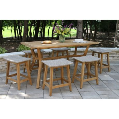Outdoor Interiors 7 Piece Nautical Counter Height Dining Set In Teak Grey Bed Bath Beyond