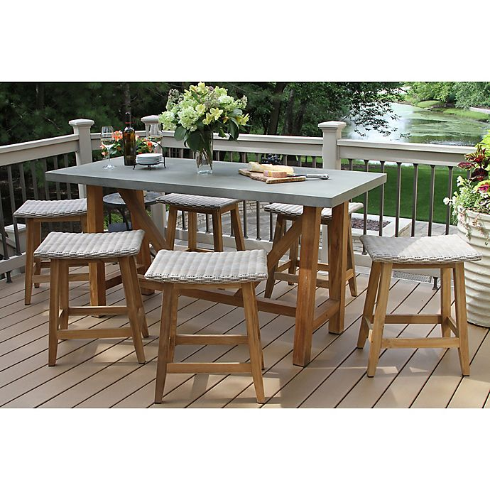 Buy Outdoor Interiors 7 Piece Teak Composite Counter Height Dining Set With Saddle Stools From