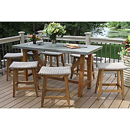 Outdoor Interiors 7 Piece Teak Composite Counter Height Dining Set With Saddle Stools