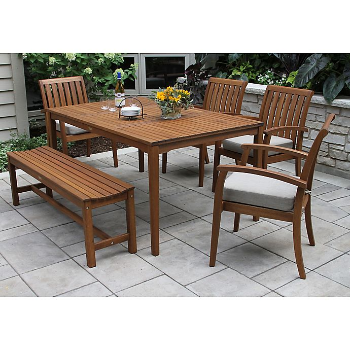 Alternate image 1 for Outdoor Interiors® 6-Piece Eucalyptus Dining Set with Arm Chairs in Brown