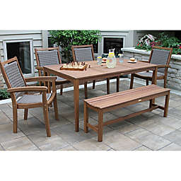 Outdoor Interiors® 6-Piece Eucalyptus Dining Set in Brown