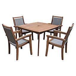 Outdoor Interiors® 5-Piece Wicker & Eucalyptus Dining Set