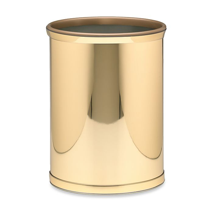 Alternate image 1 for Kraftware™ Mylar Wastebasket in Polished Brass