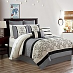 Carter 12-Piece Embroidered King Comforter Set in Black/White