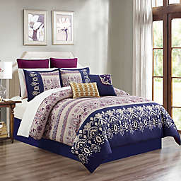 Skylar 12-Piece King Comforter Set in Blue/Magenta