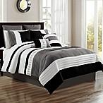 Logan 12-Piece King Comforter Set in Black/White