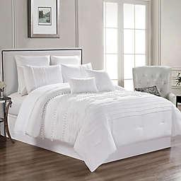 Zoey 12-Piece Queen Comforter Set in Cream
