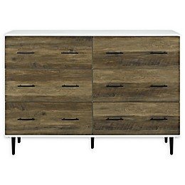 Forest Gate 6-Drawer Farmhouse Wood Storage Cabinet in Barnwood White