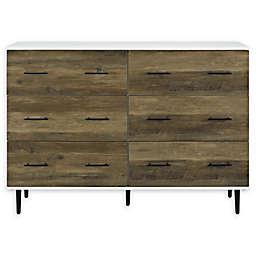 Forest Gate 52-Inch 6-Drawer Dresser in White/Rustic Oak