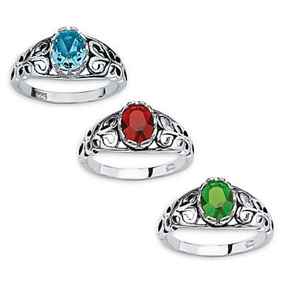 Palm Beach Jewelry Sterling Silver Oval Birthstone Scroll Ring