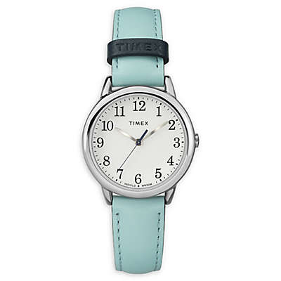 Timex® Easy Reader Ladies' 30mm Watch in Silvertone with Blue Leather Strap