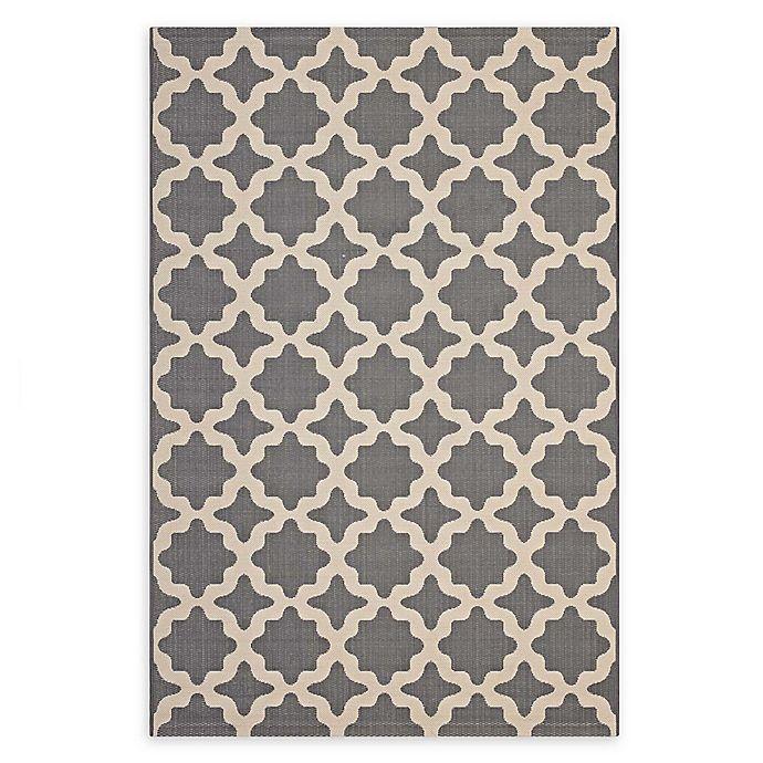 Alternate image 1 for Modway Moroccan Trellis 5' x 8' Flat-Weave Indoor/Outdoor Area Rug in Grey/Beige