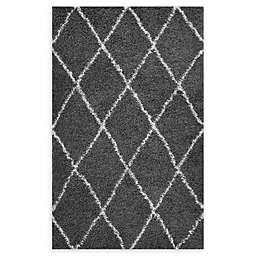 Modway Toryn Diamond Lattice 8' x 10' Shag Area Rug in Dark Grey/Ivory