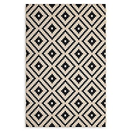 Modway Perplex Indoor/Outdoor Area Rug in Black/Beige