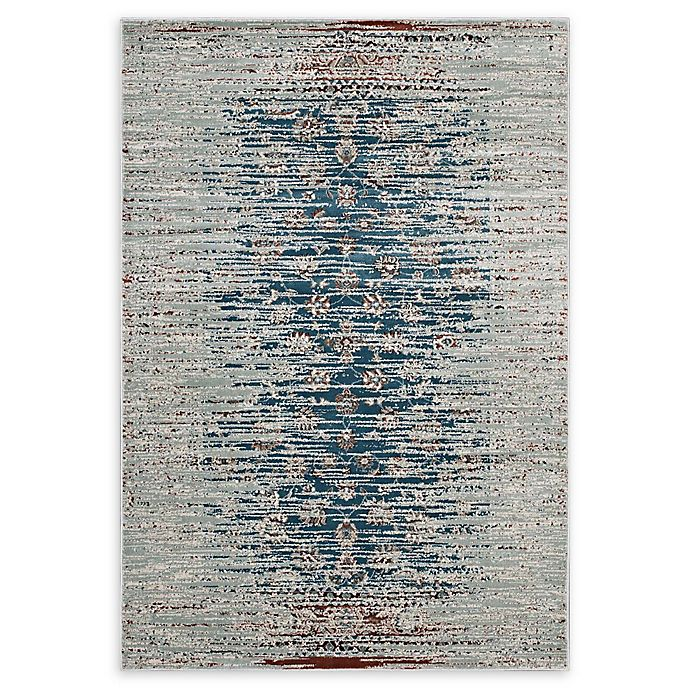 Modway Hesper Distressed Flat-Weave Area Rug In Teal/Beige