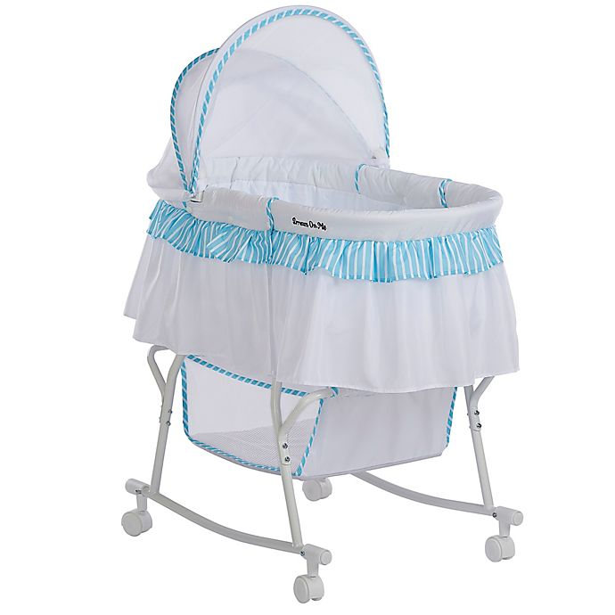Alternate image 1 for Dream on Me Lacy Portable 2-in-1 Bassinet/Cradle in Blue/White