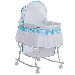 Dream on Me Lacy Portable 2-in-1 Bassinet/Cradle in Blue/White