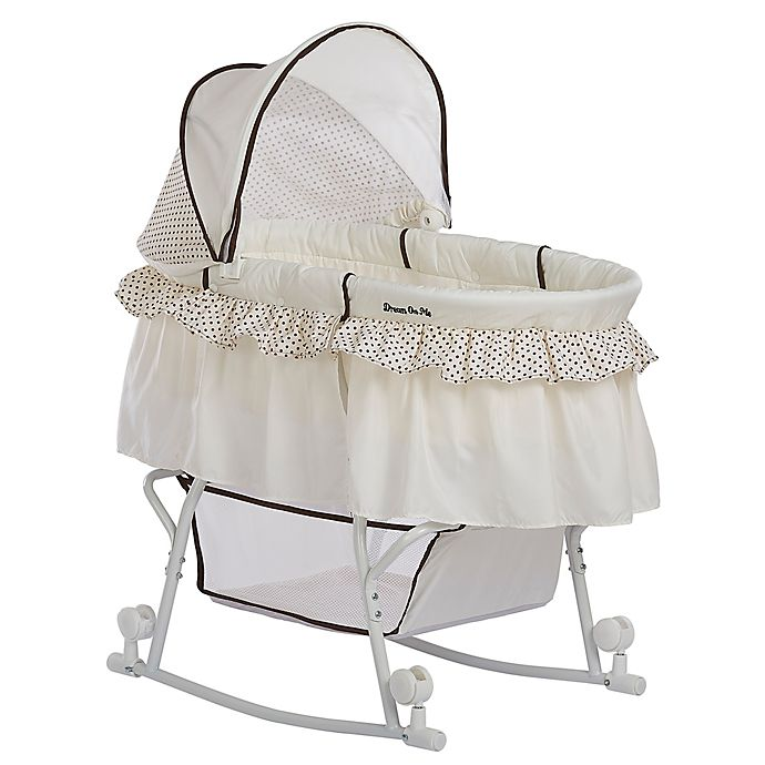 Alternate image 1 for Dream on Me Lacy Portable 2-in-1 Bassinet/Cradle in Green/White