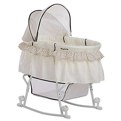 Dream on Me Lacy Portable 2-in-1 Bassinet/Cradle in Green/White