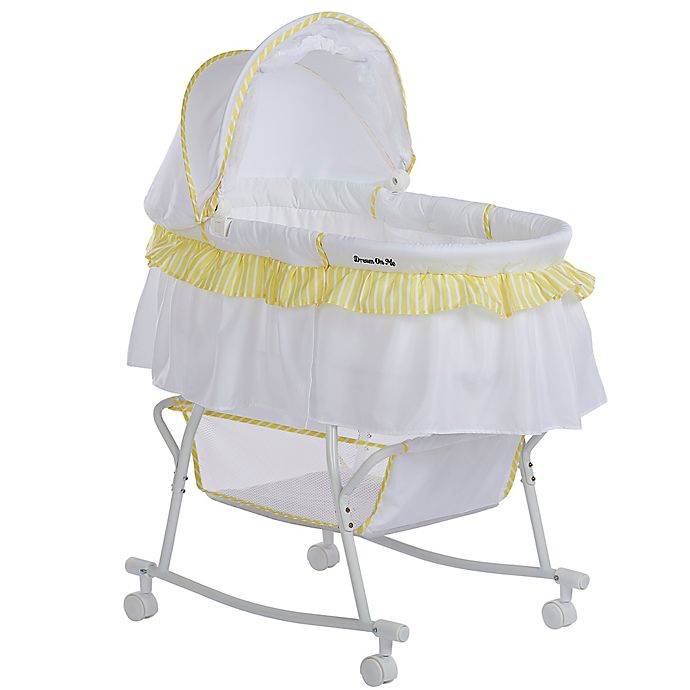 Dream On Me Lacy Portable 2 In 1 Binet Cradle Yellow White