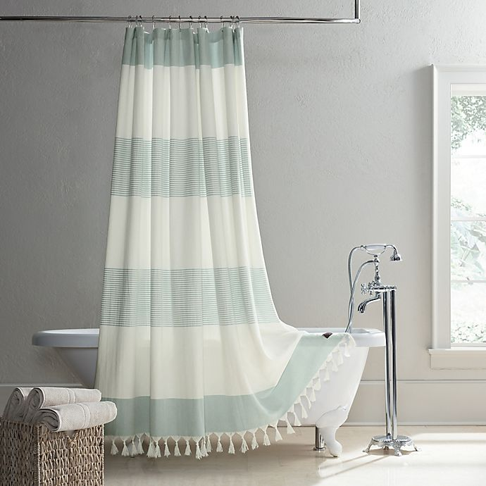 Alternate image 1 for UGG® Napa Yarn-Dyed Stripe Shower Curtain in Agave