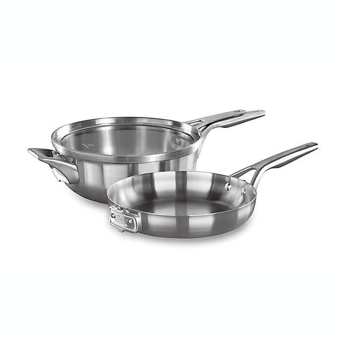 Alternate image 1 for Calphalon® Premier™ Space Saving 3-Piece Stainless Steel 10-Inch Cookware Set