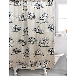 Ghana Elephant Shower Curtain In Cream Black